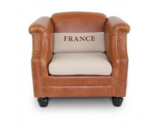 Kreslo France - béžová / hnedá