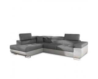Rohová sedačka s rozkladom a úložným priestorom Amareto L - biela / sivá