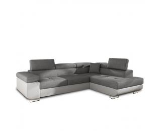 Rohová sedačka s rozkladom a úložným priestorom Amareto P - biela / sivá