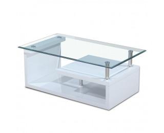 Konferenčný stolík Julien - biely vysoký lesk / chróm / číre sklo