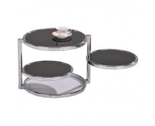 Konferenčný stolík Moira - chróm / čierne sklo