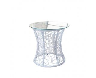 Sklenený príručný stolík Salmar - biela