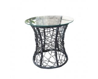 Sklenený príručný stolík Salmar - sivá