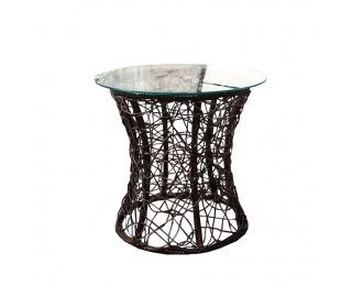 Sklenený príručný stolík Salmar - hnedá