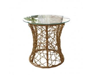 Sklenený príručný stolík Salmar - béžová