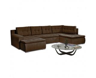 Rohová sedačka U s rozkladom a úložným priestorom Limone P - hnedá