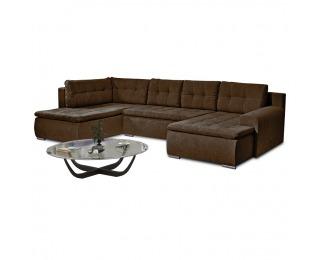 Rohová sedačka U s rozkladom a úložným priestorom Limone L - hnedá
