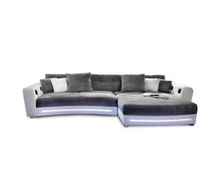 Rohová sedačka s osvetlením Luxlaredo L/P - biela / sivá