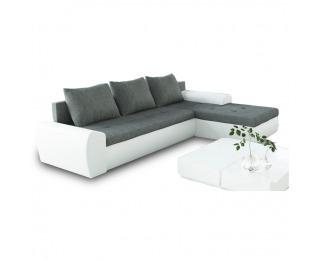 Rohová sedačka s rozkladom a úložným priestorom Magna L/P - biela / sivá