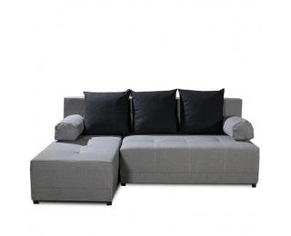 Rohová sedačka s rozkladom a úložným priestorom Mexx L - sivá / čierna