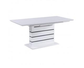Rozkladací jedálenský stôl Medan - biely vysoký lesk