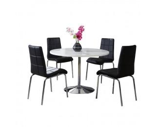 Okrúhly jedálenský stôl Paulin - chróm / biely vysoký lesk