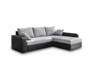 Rohová sedačka s rozkladom a úložným priestorom Viper L/P - čierna ekokoža / sivý šenil