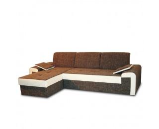 Rohová sedačka s rozkladom a úložným priestorom Pedro L - hnedá / biela