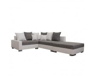 Rohová sedačka s rozkladom Petrana New P - biela ekokoža / sivý melírovaný šenil (Berlin 01)