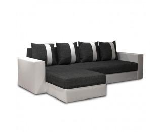 Rohová sedačka s rozkladom a úložným priestorom Tobias L/P - biela / tmavosivá