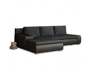 Rohová sedačka s rozkladom a úložným priestorom Tramp L/P - čierna / čierna melírovaná