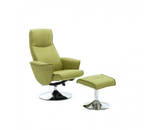 Relaxačné kreslo s podnožkou Lonato - zelená Greenery / oceľ