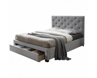 Čalúnená manželská posteľ s roštom Santola 160 - sivá / wenge