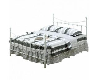Kovová jednolôžková posteľ s roštom Nieves 90 - biela
