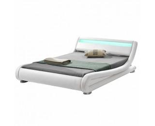 Čalúnená manželská posteľ s roštom a osvetlením Filida 180 - biela