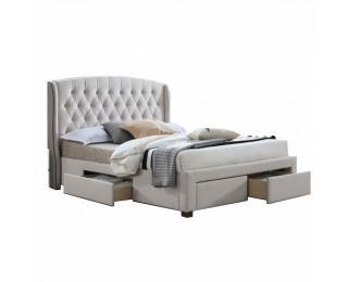 Čalúnená manželská posteľ s roštom Akana 180 180x200 cm - krémová