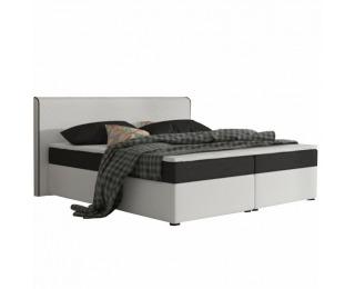 Čalúnená manželská posteľ s matracmi Novara 160 - biela / čierna (komfort)