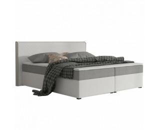 Čalúnená manželská posteľ s matracmi Novara 160 - biela / sivá (komfort)