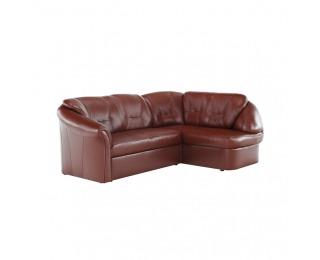 Kožená rohová sedačka s rozkladom Laredo P - hnedočervená