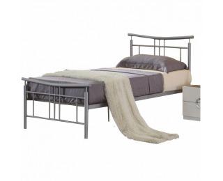 Kovová jednolôžková posteľ s roštom Dorado 90 - matná strieborná