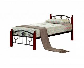 Kovová jednolôžková posteľ s roštom Magenta 90 - čierny kov / tmavý dub