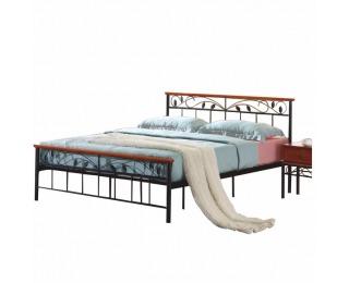 Kovová manželská posteľ s roštom Morena 180 - čierny kov / čerešňa