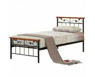Kovová jednolôžková posteľ s roštom Morena 90 - čierny kov / čerešňa