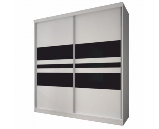 Šatníková skriňa Multi 11 2D 233x218 cm - biela / čierne sklo