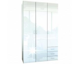 Šatníková skriňa Gwen 70427 3D - biely vysoký lesk