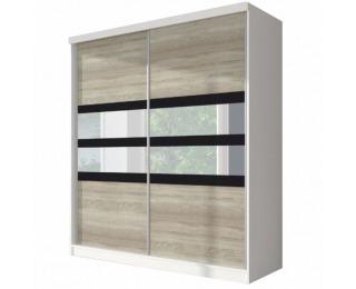 Šatníková skriňa Multi 10 2D 183x218 cm - dub sonoma / biela / čierne sklo