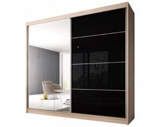 Šatníková skriňa s posuvnými dverami Multi 31 203x218 cm - dub sonoma / čierny lesk