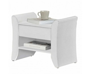Čalúnený nočný stolík Bolton - biela