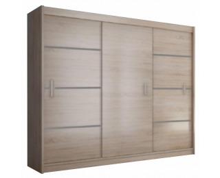 Šatníková skriňa s posuvnými dverami Merina 250 3D - dub sonoma / sivá