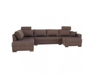 Rohová sedačka U s rozkladom Mantego New L - hnedá