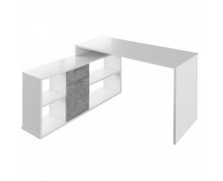 Rohový písací stolík Noe New - biela / betón
