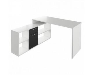 Rohový písací stolík Noe New - biela / čierna