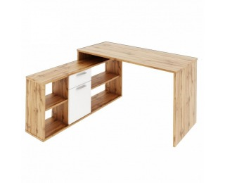 Rohový písací stolík Noe New - dub wotan / biela