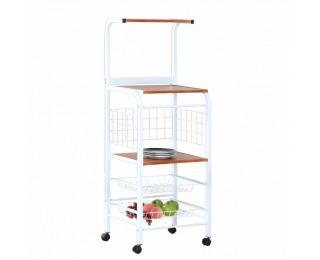 Servírovací stolík na kolieskach Mikron - biela / dub sonoma