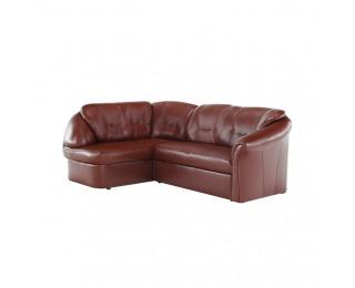 Kožená rohová sedačka s rozkladom Laredo L - hnedočervená