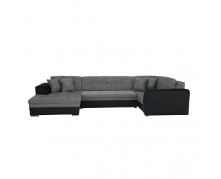 Rohová sedačka U s rozkladom Degan L - čierna / sivý melír