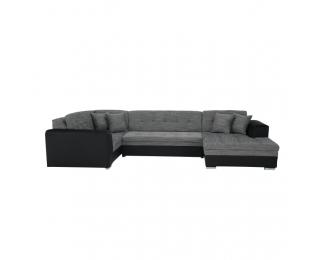 Rohová sedačka U s rozkladom Degan P - čierna / sivý melír