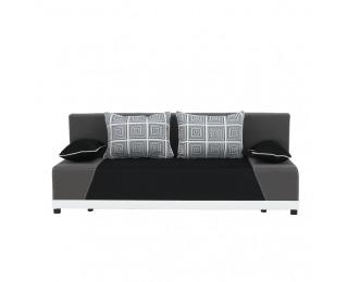 Rozkladacia pohovka s úložným priestorom Rokar - čierna / sivá / vzor