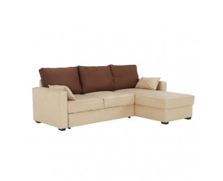 Rohová sedačka s rozkladom a úložným priestorom Mamba L/P - béžová / čokoládová