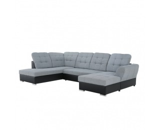 Rohová sedačka U s rozkladom a úložným priestorom Amoti L - čierna / sivá